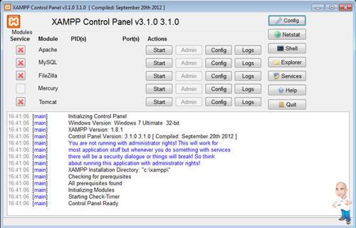 Imagem php servidor xamp control