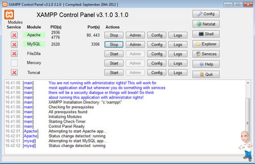 Imagem php servidor xamp control2