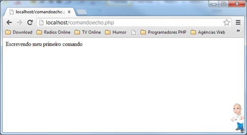 Imagem php comandos echo navegador
